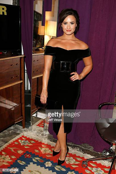 Recording artist Demi Lovato poses in the green room at Glamour Women Of The Year 2016 at NeueHouse Hollywood on November 14 2016 in Los Angeles...