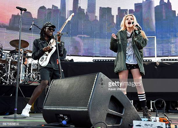 Recording artist Dev Hynes aka Blood Orange and singer Sky Ferreira perform onstage during FYF Fest 2016 at Los Angeles Sports Arena on August 28...