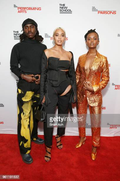 Recording artist Dev Hynes Honoree Solange Knowles and Recording artist Kelela attend the 70th Annual Parsons Benefit on May 21 2018 in New York City