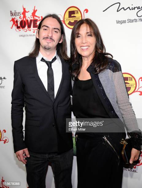 """Recording artist Dhani Harrison and Olivia Harrison attend the fifth anniversary celebration of """"The Beatles LOVE by Cirque du Soleil"""" show at The..."""