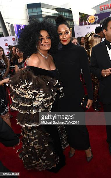 Recording artist Diana Ross and actress Tracee Ellis Ross attend the 2014 American Music Awards at Nokia Theatre LA Live on November 23 2014 in Los...