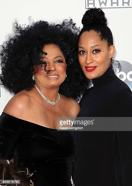 Recording artist Diana Ross and daughter actress Tracee Ellis Ross attend the 42nd Annual American Music Awards at the Nokia Theatre LA Live on...