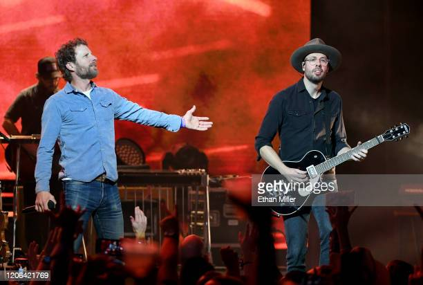 Recording artist Dierks Bentley and guitarist Ben Helson perform at The Chelsea at The Cosmopolitan of Las Vegas on February 14 2020 in Las Vegas...
