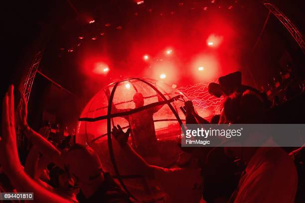 Recording artist Diplo of Major Lazer crowd surfs in a ball at Which Stage during Day 2 of the 2017 Bonnaroo Arts And Music Festival on June 9 2017...
