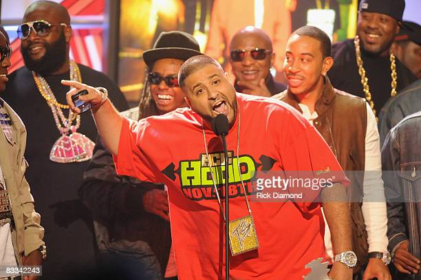 Recording artist DJ Khaled accepts an award onstage with Rick Ross, Lil Wayne and Ludacris during the 2008 BET Hip-Hop Awards at The Boisfeuillet...