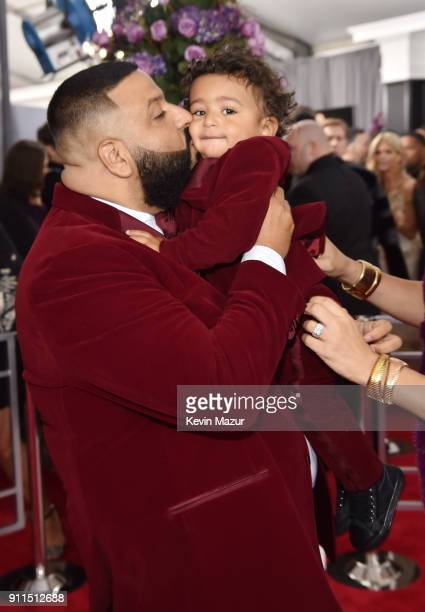 Recording artist DJ Khaled and son Asahd Tuck Khaled attend the 60th Annual GRAMMY Awards at Madison Square Garden on January 28 2018 in New York City