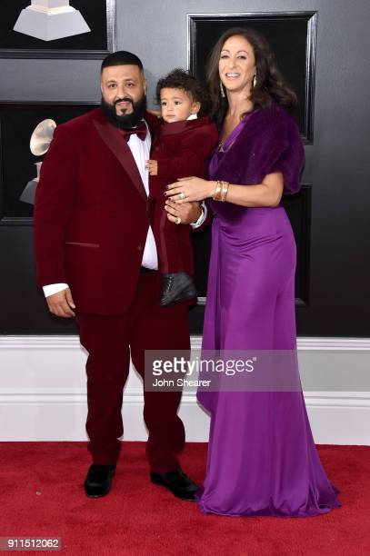 Recording artist DJ Khaled Asahd Tuck Khaled and Nicole Tuck attend the 60th Annual GRAMMY Awards at Madison Square Garden on January 28 2018 in New...