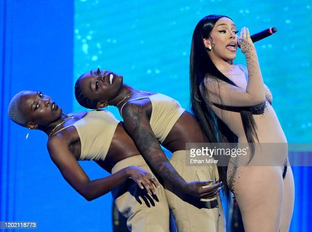 Recording artist Doja Cat performs with dancers during the 2020 Adult Video News Awards at The Joint inside the Hard Rock Hotel Casino on January 25...