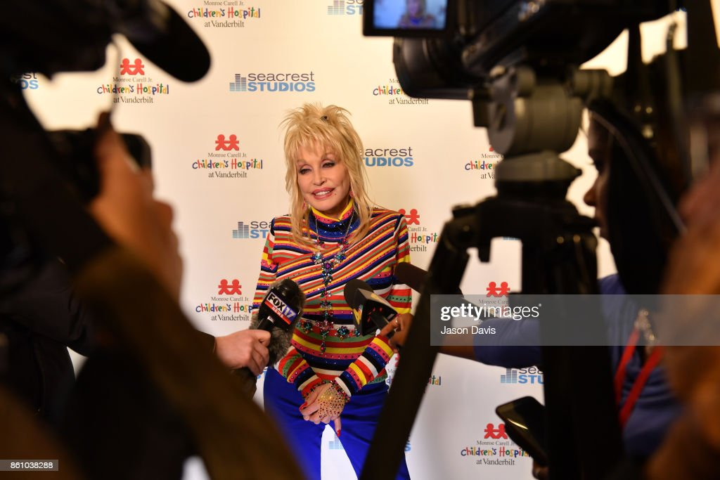 Recording artist Dolly Parton is interviewed in Seacrest Studio at Monroe Carell Jr. Vanderbilt Children's Hospital to share music & her own family's story of hope with kids and their parents on October 13, 2017 in Nashville, Tennessee.