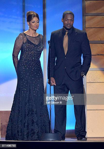 Recording artist Dorinda Clark Cole and TC Stallings speak onstage during the 2016 Stellar Gospel Awards at the Orleans Arena on February 20 2016 in...