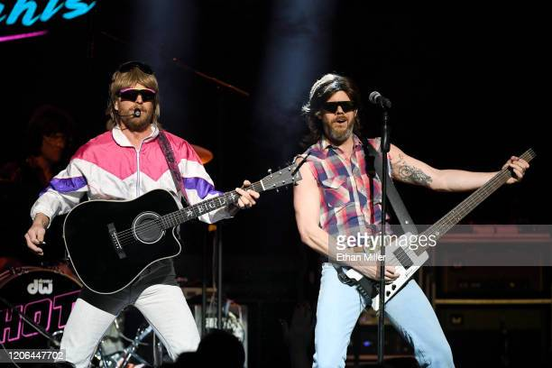 Recording artist Douglas Doug Douglason and bassist Trevor Travis of Hot Country Knights perform at The Chelsea at The Cosmopolitan of Las Vegas on...