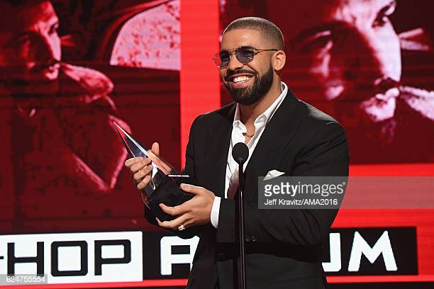 Recording artist Drake accepts the Favorite Rap/HipHop Album award onstage at the 2016 American Music Awards at Microsoft Theater on November 20 2016...