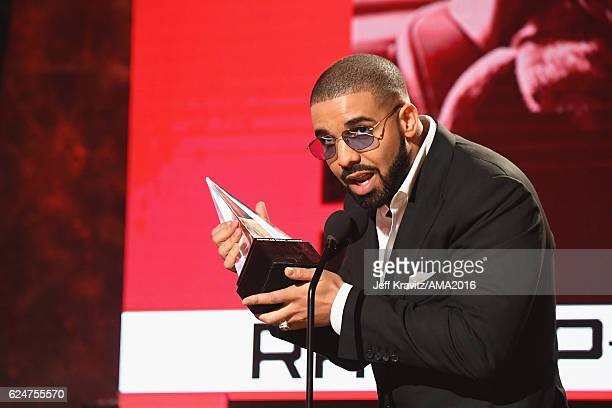 Recording artist Drake accepts the Favorite Rap/Hip-Hop Album award onstage at the 2016 American Music Awards at Microsoft Theater on November 20,...