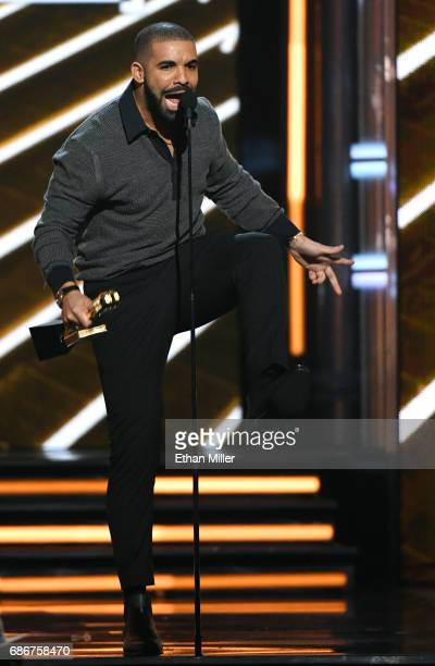 Recording artist Drake accepts the Top Billboard 200 Album award for 'Views' during the 2017 Billboard Music Awards at TMobile Arena on May 21 2017...