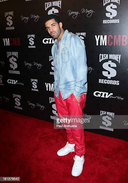 Recording Artist Drake attends the Cash Money Records 4th annual PreGRAMMY Awards party on February 9 2013 in West Hollywood California