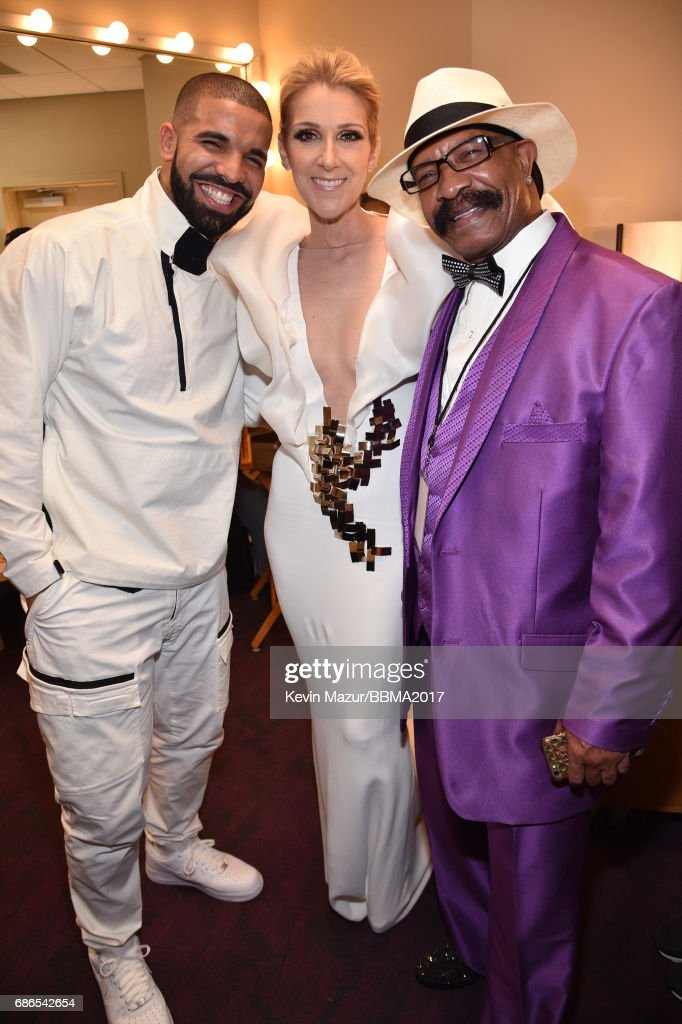 Recording artist Drake, recording artist Celine Dion and Dennis Graham attend the 2017 Billboard Music Awards at T-Mobile Arena on May 21, 2017 in Las Vegas, Nevada.