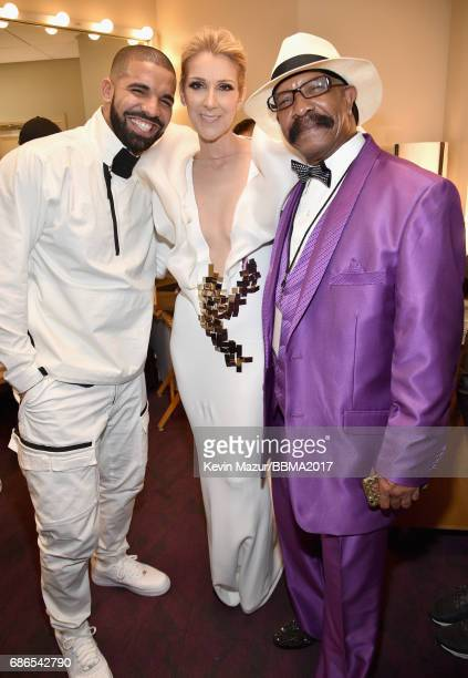 Recording artist Drake recording artist Celine Dion and Dennis Graham attend the 2017 Billboard Music Awards at TMobile Arena on May 21 2017 in Las...