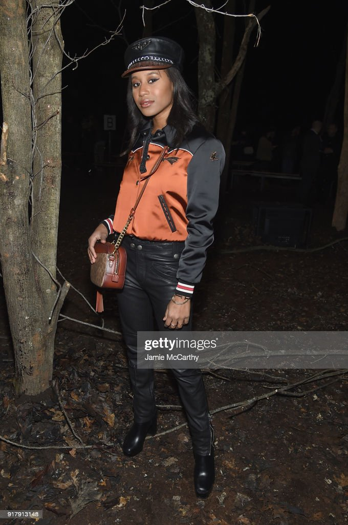 Recording Artist Dren attends the Coach 1941 front row during New York Fashion Week at Basketball City on February 13, 2018 in New York City.