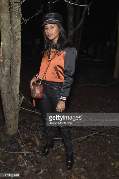 Recording Artist Dren attends the Coach 1941 front row during New York Fashion Week at Basketball City on February 13 2018 in New York City