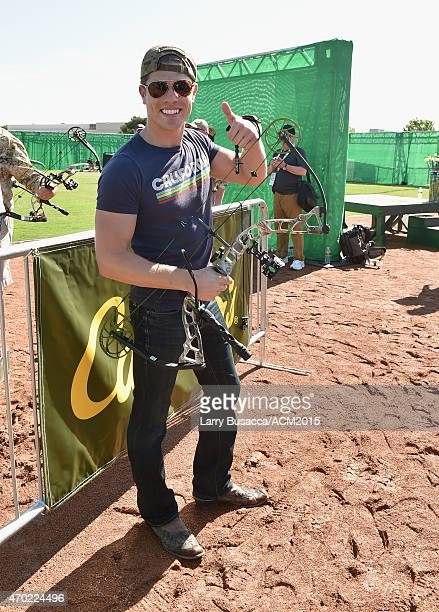 Recording artist Dustin Lynch attends the ACM Cabela's Great Outdoor Archery Event during the 50th Academy of Country Music Awards at the Texas...