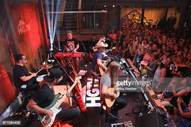 Recording artist Dustin Lynch performs onstage in the HGTV Lodge at CMA Music Fest on June 9 2018 in Nashville Tennessee