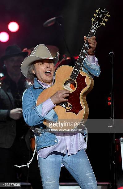 Recording artist Dwight Yoakam performs during ACM Presents Superstar Duets at Globe Life Park in Arlington on April 17 2015 in Arlington Texas