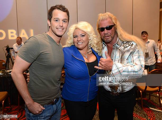 Recording artist Easton Corbin and TV personalities Beth Chapman and Dog the Bounty Hunter attend the Dial Global Radio Remotes during The 48th...