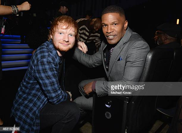Recording artist Ed Sheeran and actor Jamie Foxx attend Stevie Wonder Songs In The Key Of Life An AllStar GRAMMY Salute at Nokia Theatre LA Live on...