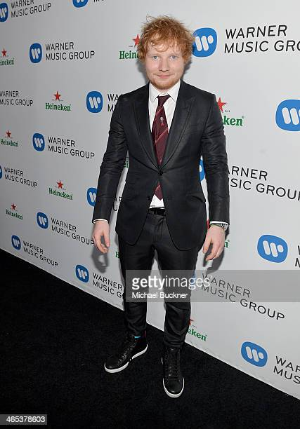 Recording artist Ed Sheeran attends the Warner Music Group annual GRAMMY celebration on January 26, 2014 in Los Angeles, California.