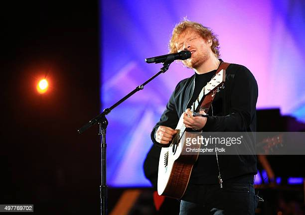 Recording artist Ed Sheeran performs onstage at AE Networks Shining A Light concert at The Shrine Auditorium on November 18 2015 in Los Angeles...