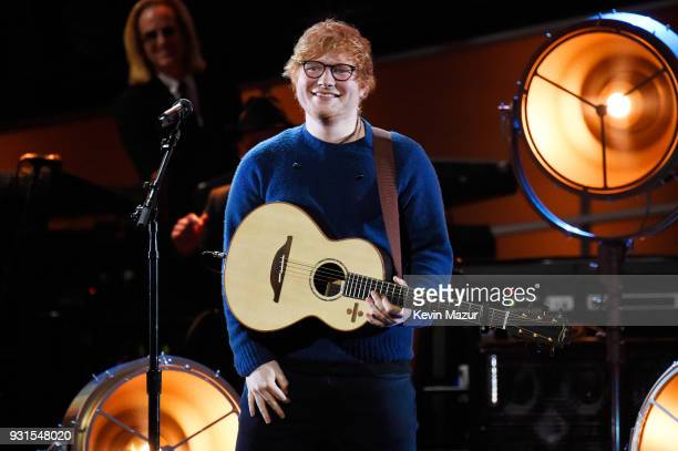Recording artist Ed Sheeran performs onstage during 60th Annual GRAMMY Awards - I'm Still Standing: A GRAMMY Salute To Elton John at the Theater at...