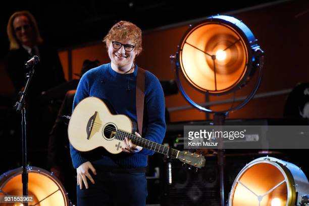 Recording artist Ed Sheeran performs onstage during 60th Annual GRAMMY Awards I'm Still Standing A GRAMMY Salute To Elton John at the Theater at...