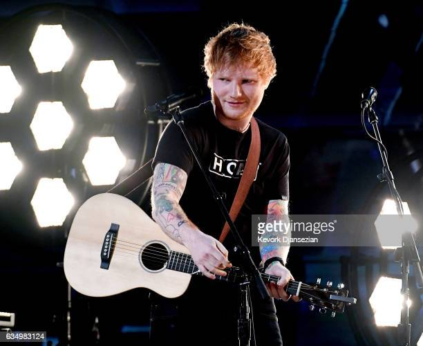 Recording artist Ed Sheeran performs onstage during The 59th GRAMMY Awards at STAPLES Center on February 12 2017 in Los Angeles California