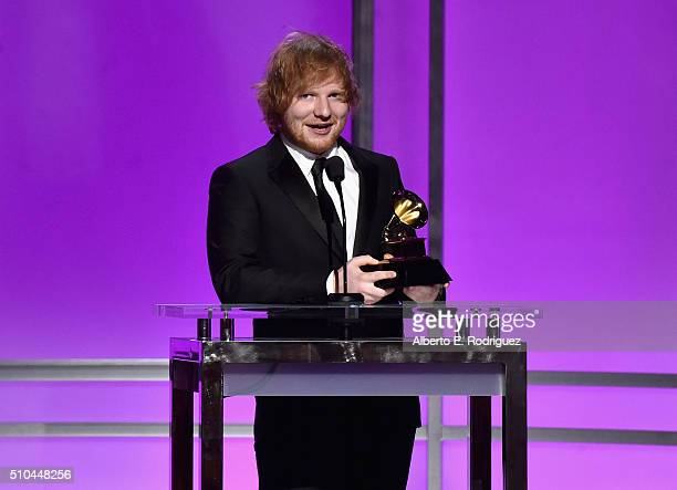Recording artist Ed Sheeran winner of Best Pop Solo Performance for 'Thinking Out Loud' accepts award onstage during the GRAMMY PreTelecast at The...