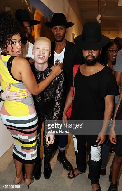 Recording artist Elle Varner and model Shaun Ross attend the Jerome LaGarrigue Visible Man opening reception at Driscoll Babcock Galleries on...