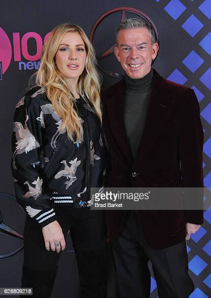 Recording artist Ellie Goulding and Elvis Duran attend the broadcast room at the Z100's Jingle Ball 2016 at Madison Square Garden on December 9 2016...