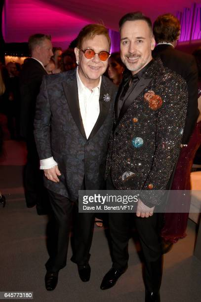 Recording artist Elton John and director David Furnish attend the 2017 Vanity Fair Oscar Party hosted by Graydon Carter at Wallis Annenberg Center...