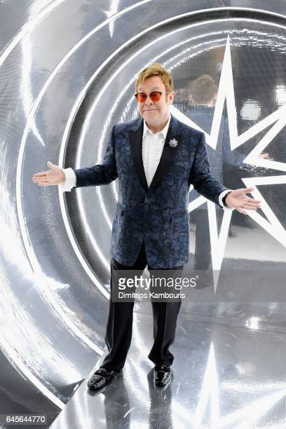 Recording artist Elton John attends the 25th Annual Elton John AIDS Foundation's Academy Awards Viewing Party at The City of West Hollywood Park on...