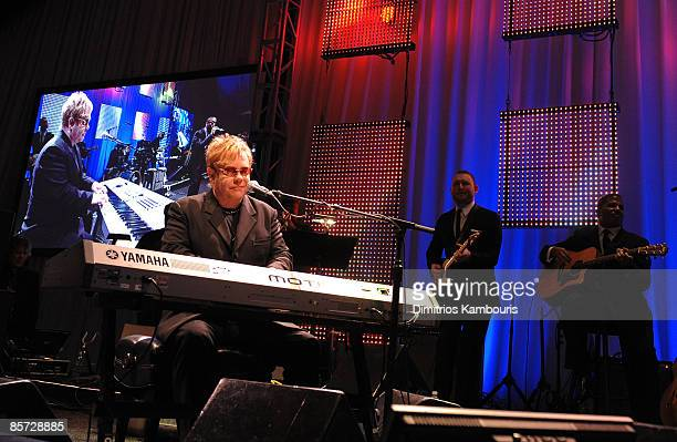 Recording artist Elton John performs at the 17th Annual Elton John AIDS Foundation Oscar party held at the Pacific Design Center on February 22, 2009...