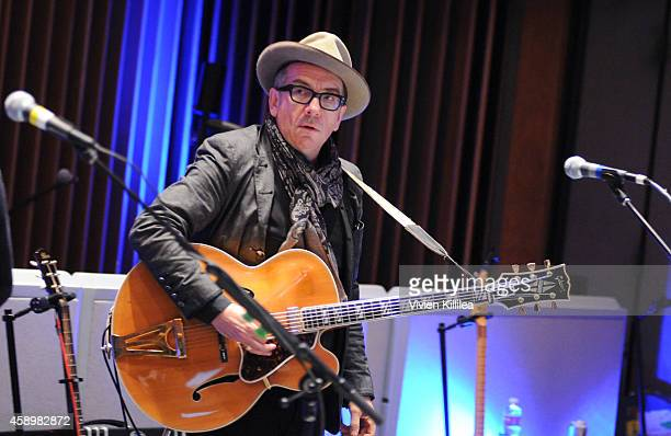 Recording artist Elvis Costello of the New Basement Tapes performs On SiriusXM at Capital Studios on November 14 2014 in Hollywood California
