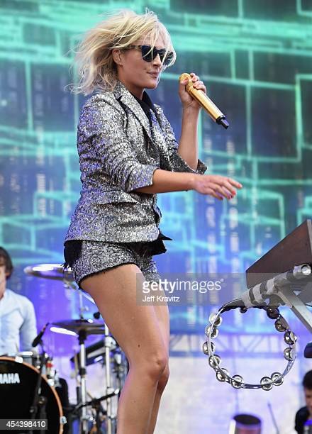 Recording artist Emily Haines of Metric performs on the Dylan Stage during day 1 of the 2014 Budweiser Made in America Festival at Los Angeles Grand...