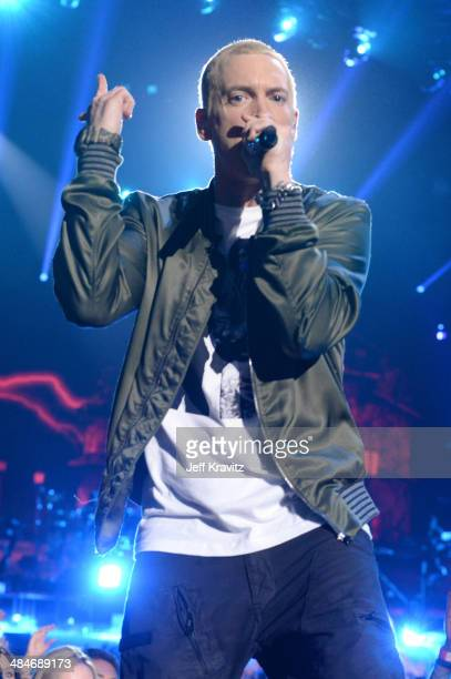 Recording artist Eminem onstage at the 2014 MTV Movie Awards at Nokia Theatre LA Live on April 13 2014 in Los Angeles California