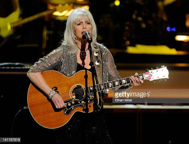 Recording artist Emmylou Harris performs during the opening night of The Smith Center for the Performing Arts on March 10 2012 in Las Vegas Nevada