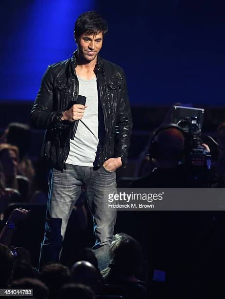 Recording artist Enrique Iglesias speaks onstage during The GRAMMY Nominations Concert Live Countdown To Music's Biggest Night at Nokia Theatre LA...