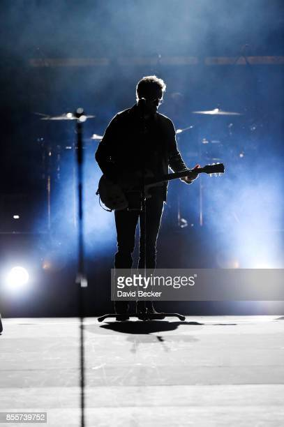 Recording artist Eric Church performs during the Route 91 Harvest country music festival at the Las Vegas Village on September 29 2017 in Las Vegas...