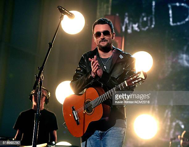 Recording artist Eric Church performs onstage during the 51st Academy of Country Music Awards at MGM Grand Garden Arena on April 3 2016 in Las Vegas...