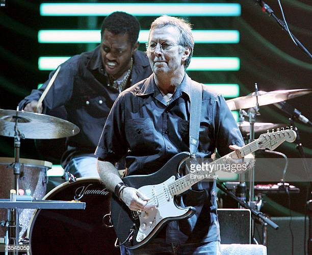 Recording artist Eric Clapton with drummer Steve Jordan performs during a soldout concert at the MGM Grand Garden Arena March 10 2007 in Las Vegas...