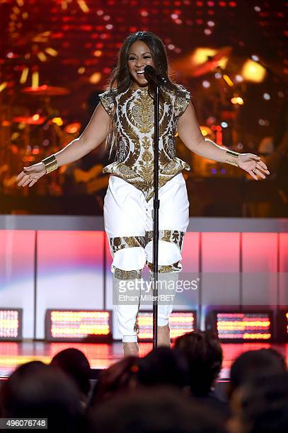 Recording artist Erica Campbell performs onstage during the 2015 Soul Train Music Awards at the Orleans Arena on November 6 2015 in Las Vegas Nevada
