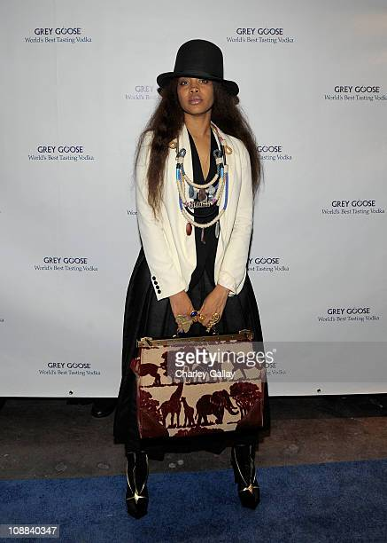 Recording artist Erykah Badu attends the GREY GOOSE lounge series at Super Bowl hosted by Erykah Badu at the GREY GOOSE Lounge on February 4 2011 in...