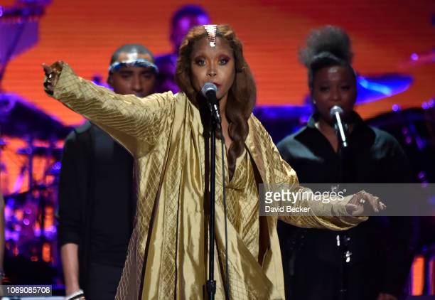 Recording artist Erykah Badu performs during the 2018 Soul Train Awards at the Orleans Arena on November 17 2018 in Las Vegas Nevada